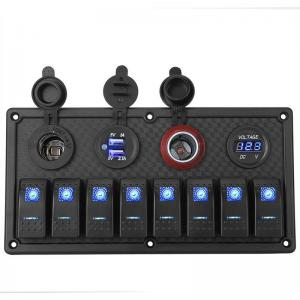 8 Gang Rocker Switch Panel & cigarette lighter,USB,DC meter